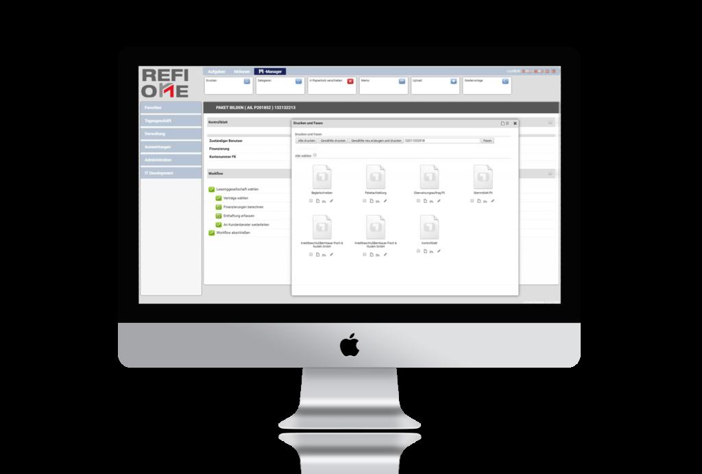 Ansicht von RefiOne der cloud-basierten Leasingsoftware für Refibanken
